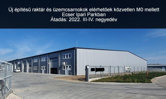Új építésű raktár M0 mellett Ecseren