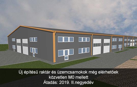 Új építésű csarnok M0 mellett